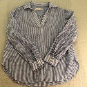 LOFT pullover blue/white striped blouse S